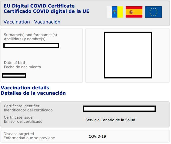 Certificado Covid para Residentes en Canarias