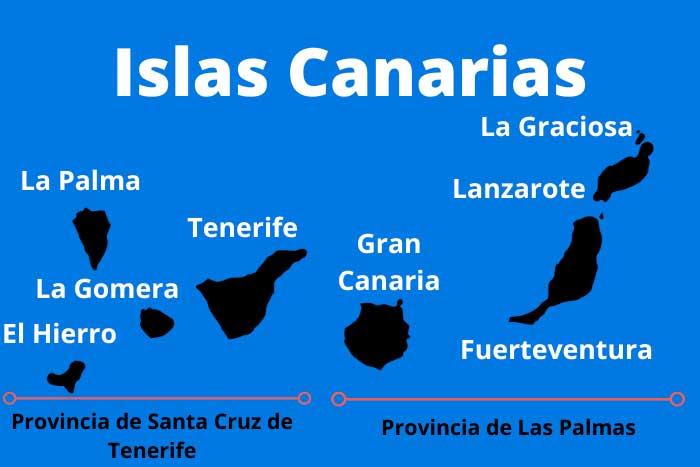 Mapa de las Islas Canarias con nombres y provincias