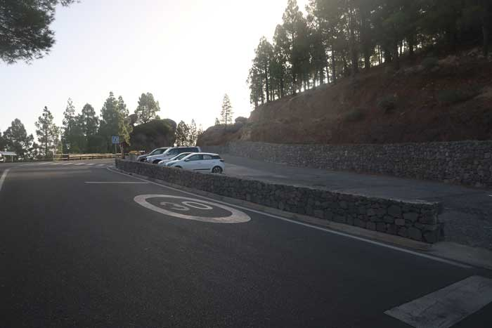 Parking donde aparcar en el Roque Nublo en Tejeda