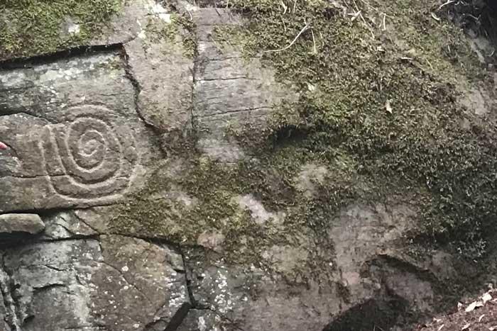 Petroglifo de los auritas en el Parque Cultural de La Zarza y La Zarcita en la Isla de La Palma