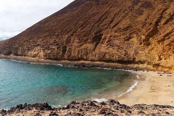 Playa de La Cocina o Montaña Amarilla en la isla de La Graciosa
