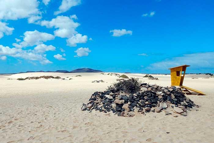 Playa del Moro en Corralejo en el norte de Fuerteventura