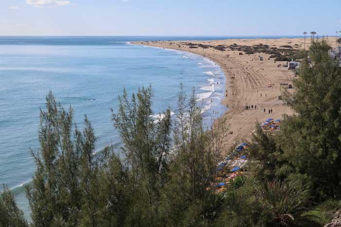 Playa del Inglés en el sur de Gran Canaria